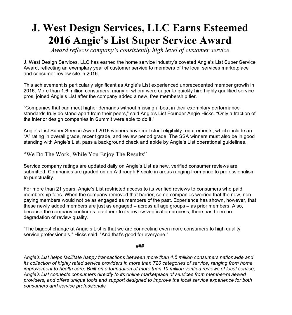 J. West Design Services Earns Esteemed 2016 Angie's List Super Service Award
