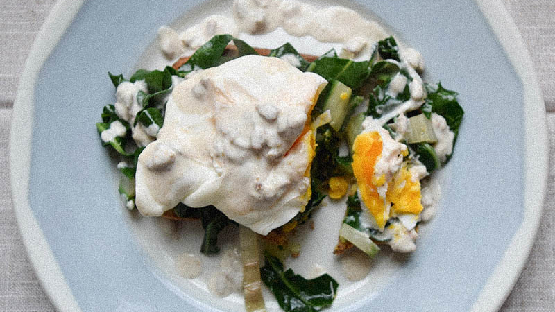 Poached Egg On Wilted Chard With Tahini Dressing