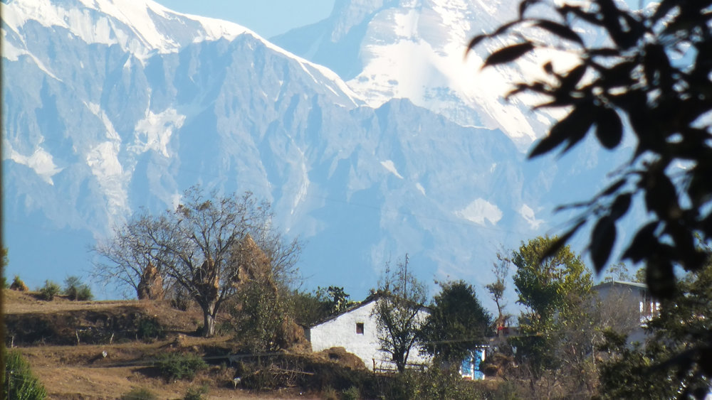 view of nanda devi with yoga hall roof.JPG