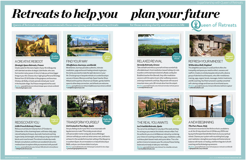 Psychologies 'Retreats to help you plan your life'