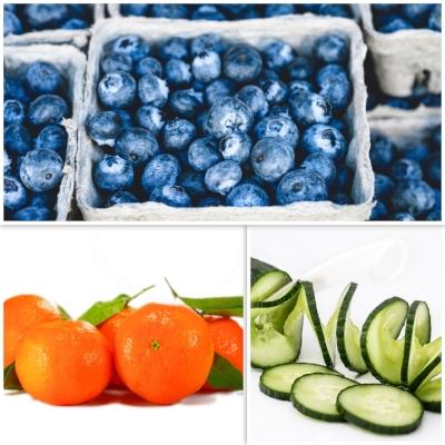 Healthy road trip snacks - carrots, hummus, cucumber, fruit, veggies, blueberries, mandarin, oranges, apples