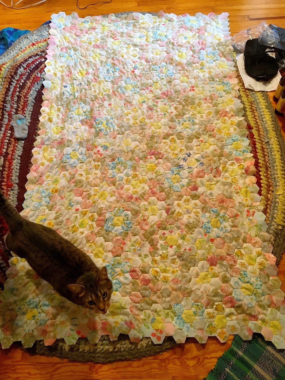 Sewing on the floor with the cat