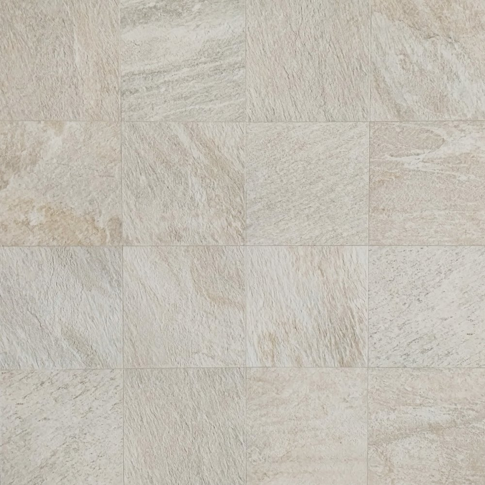 "QuartziteBianca  12""x12"" Porcelain (16 pieces shown for variation) Also available in : 6"" x 6"", 12"" x 24"",  18"" x 18"""