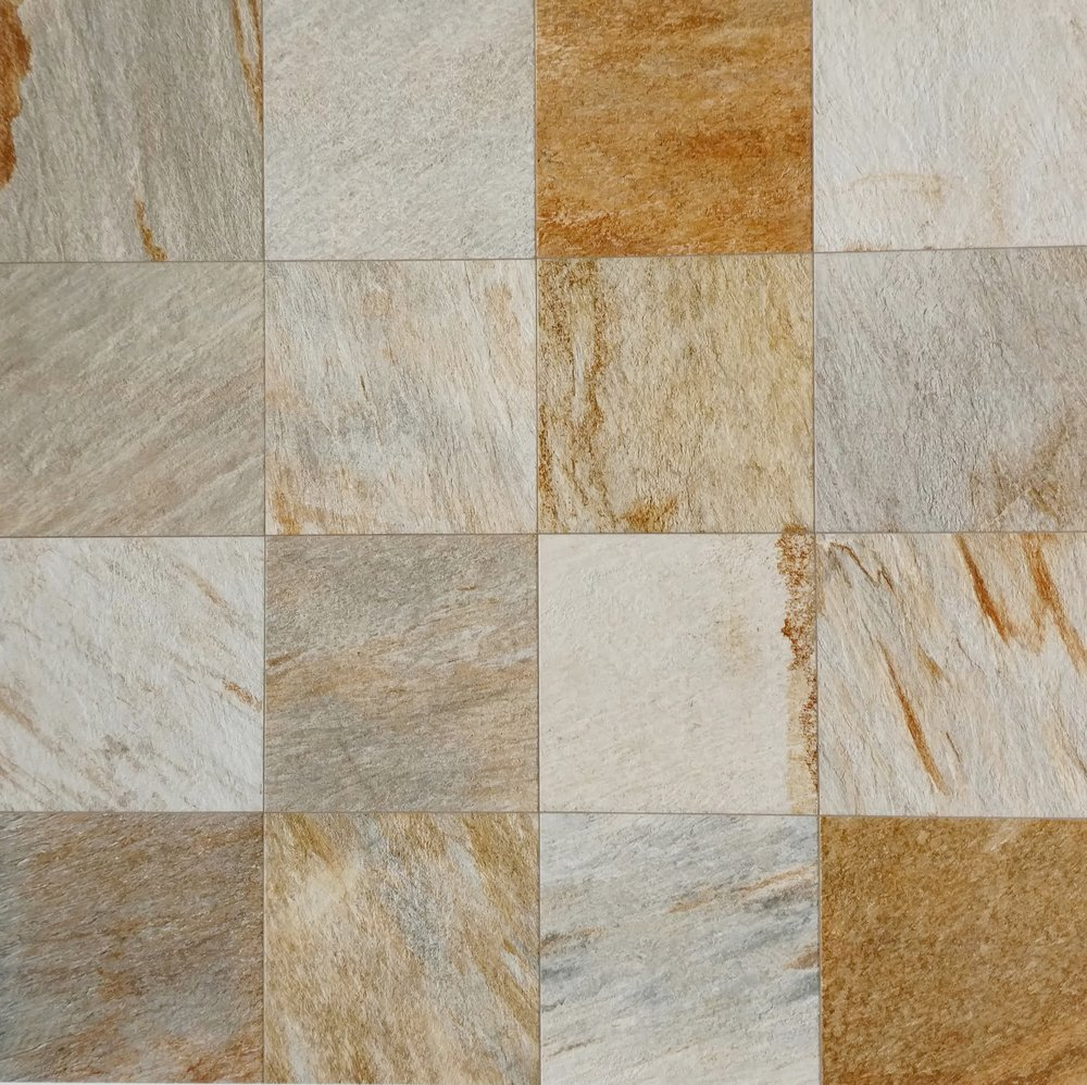 "QuartziteMulticolor  12"" x 12"" Porcelain (16 pieces shown for variation)  Also available in : 6"" x 6"", 12"" x 24"",  18"" x 18"""