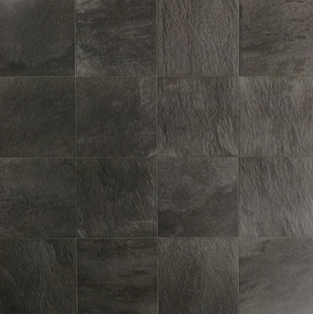 "Quartzite Grafite  12""x12"" Porcelain (16 pieces shown for variation) Also available in : 6"" x 6"", 12"" x 24"",  18"" x 18"""