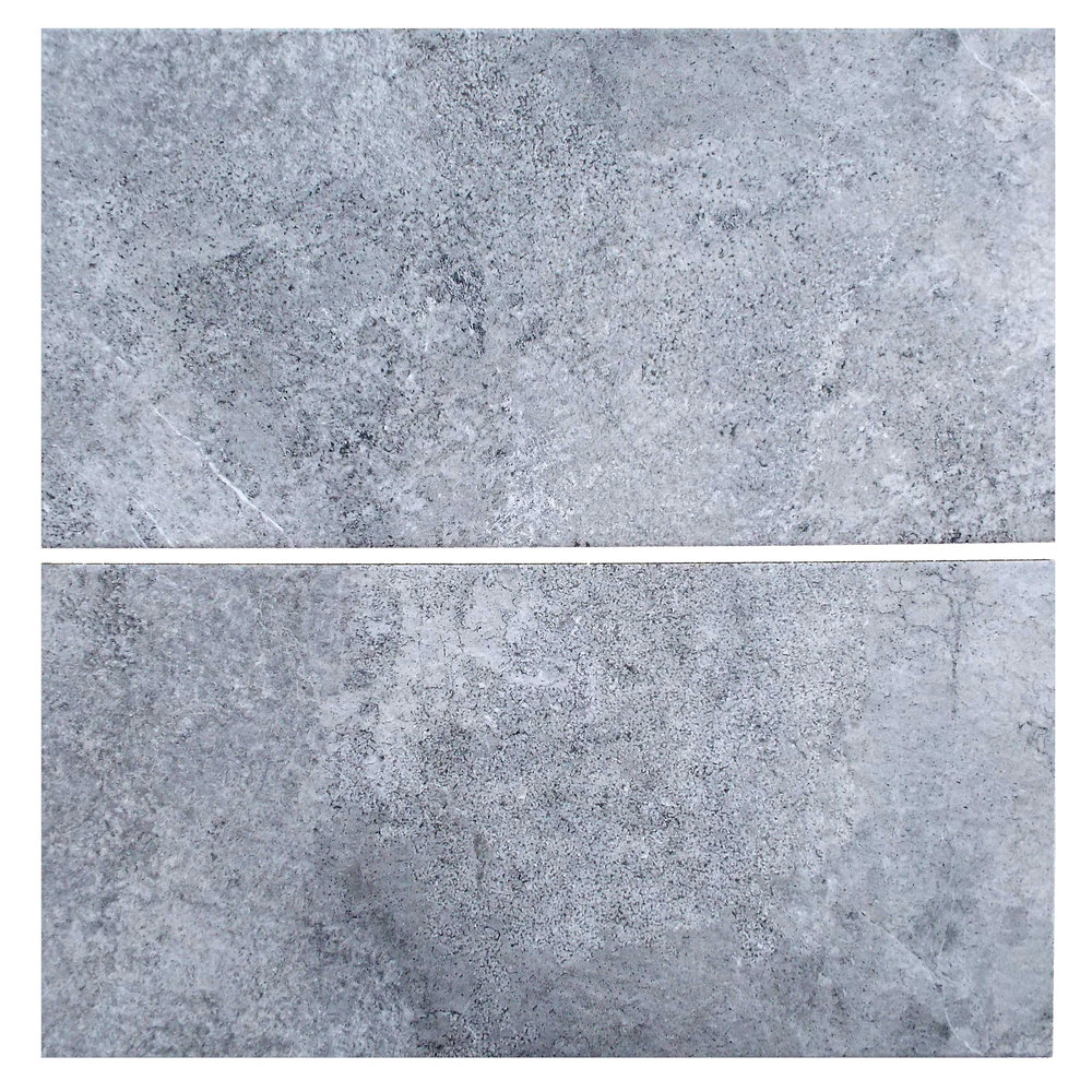"Lava  - 12"" x 24"" Porcelain (11mm thickness) (2 pieces shown for variation)"