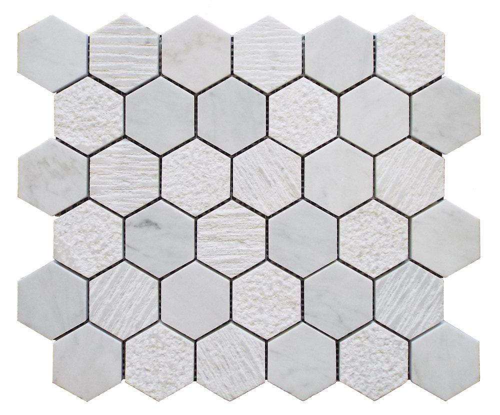 """Cararra  - 2"""" Hexagon"""
