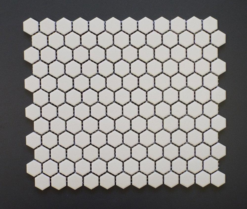 """Unglazed  - White 1"""" Hexagon"""