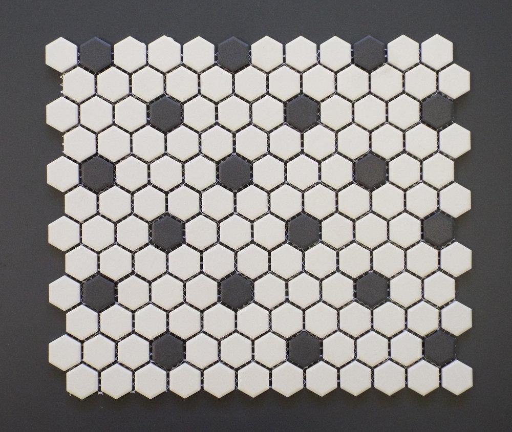 "Unglazed  - Rosette 1"" Hexagon"