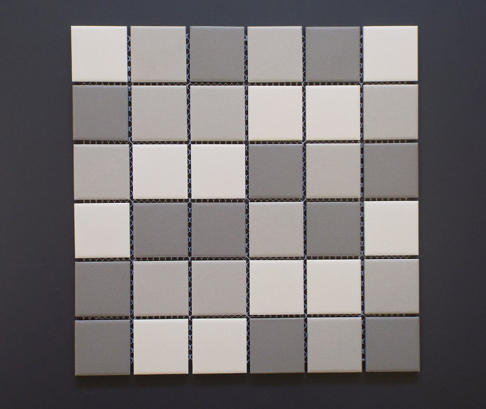 "Unglazed  - 2"" x 2"" Light Grey Mix"