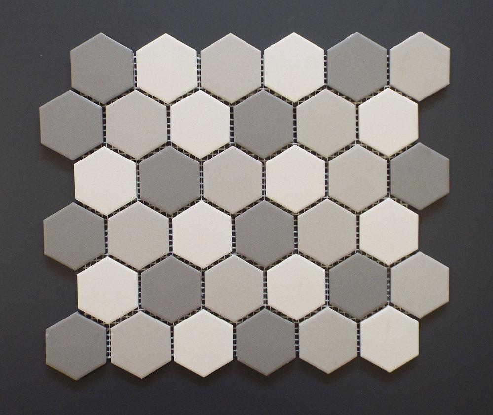 "Unglazed  - 2"" Hexagon Light Grey Mix"