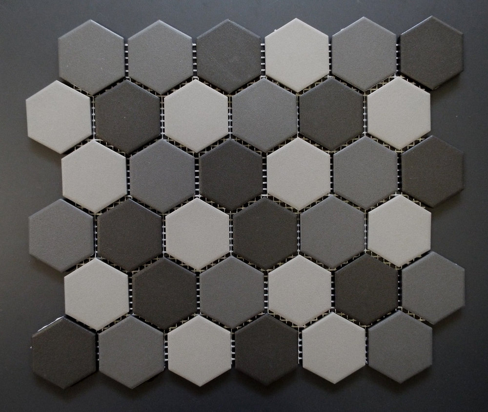 "Unglazed  - 2"" Hexagon Light Grey Mix"