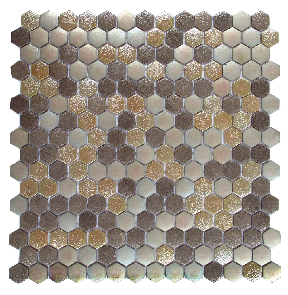 "Magma #5128  - 1"" Hexagon Glass Mosaic"