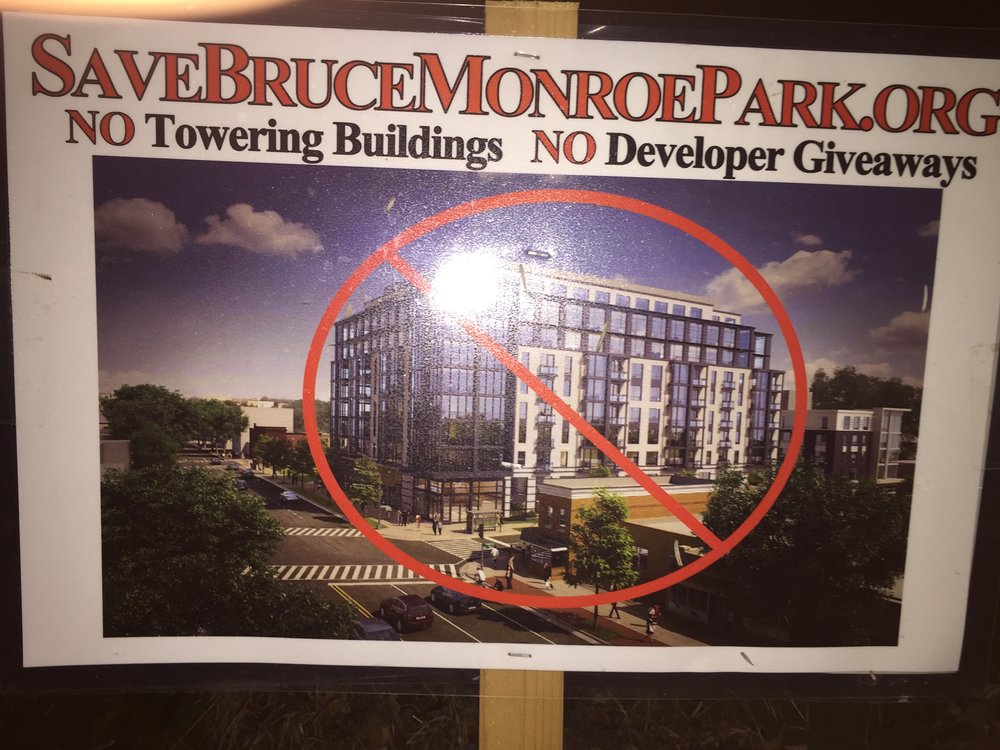 The debate about this development in Monroe Park has raged on in David's neighborhood.