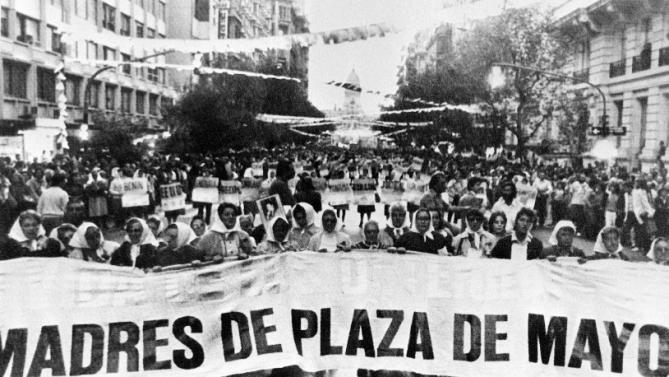 The Mothers of the Plaza de Mayo protest in March 1985 in Buenos Aires. (Courtesy  Yahoo News )