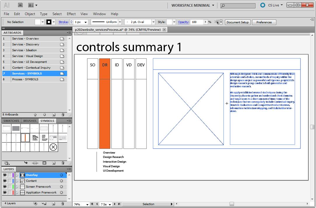 Gather controls on a summary artboard