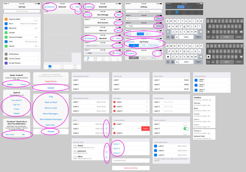 Look at all that blue iOS 9 UI Kit Template from http://www.sketchappsources.com