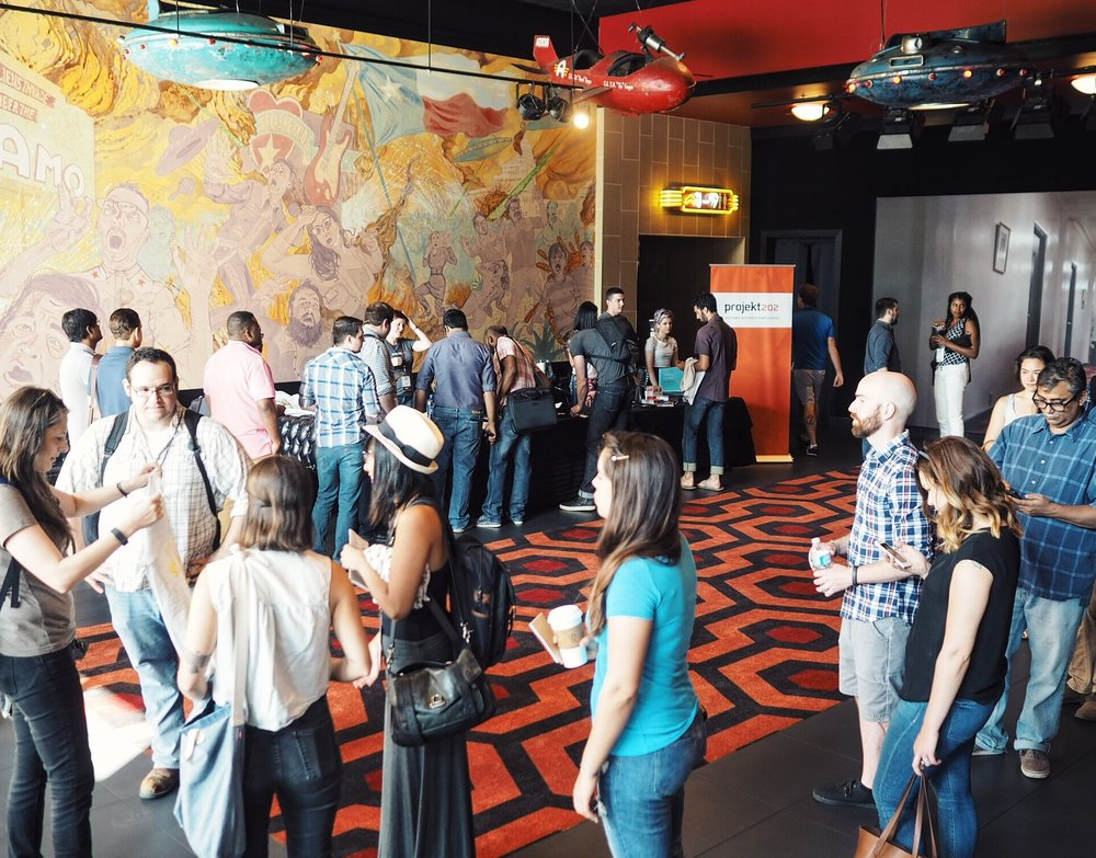 At the Alamo Drafthouse, attendees lined up for for Austin's first Front Porch Conference for web developers, sponsored by projekt202.