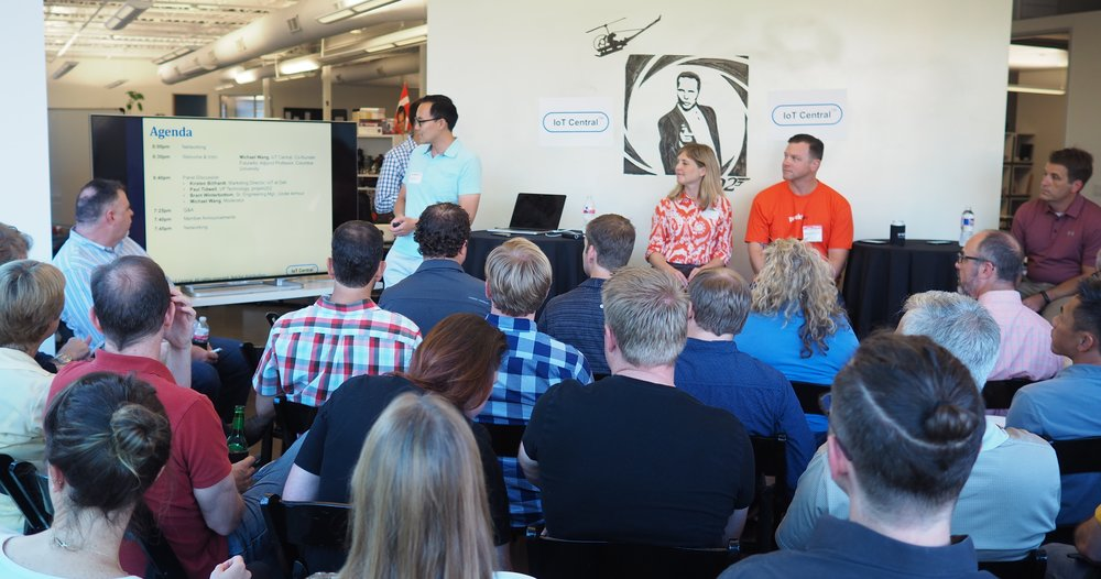 IoT experts Michael Wang, Kirsten Billhardt, Paul Tidwell and Brant Winterbottom face a full house at Tuesday's event.