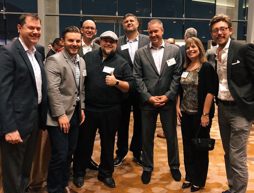 Joe Dyer, Matt Scamardo, Russ Bair, Kevin Fisher, Dave Jimenez, Ken Kritz, Karen King and Jeremy Johnson represent projekt202 at the 2017 Dallas 100 awards.