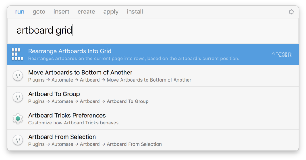 Sketch Runner and Artboard Tricks plugins in action.