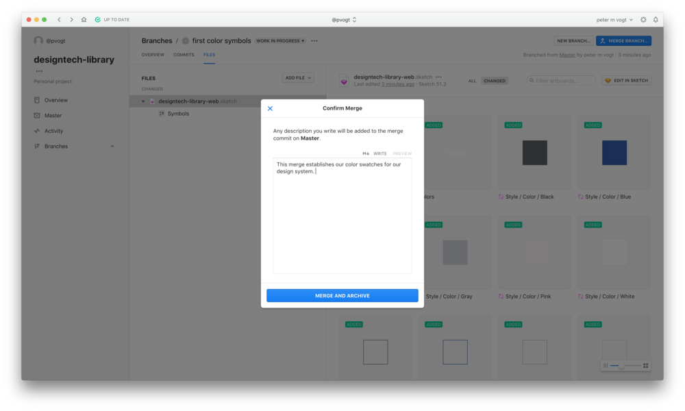 Add a merge message before you push all the color swatch work up. This documents the context of the work for future collaborators.