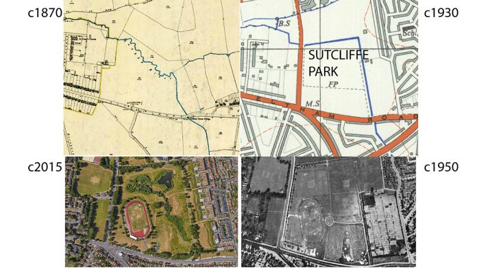 Sutcliffe Park (1) before the Quaggy was straightened; (2) after the engineers culverted the river; (3) as a 1950s expanse of playing fields; and (4) after landscape architects converted the park from playing fields to a valuable flood detention area and wildlife park