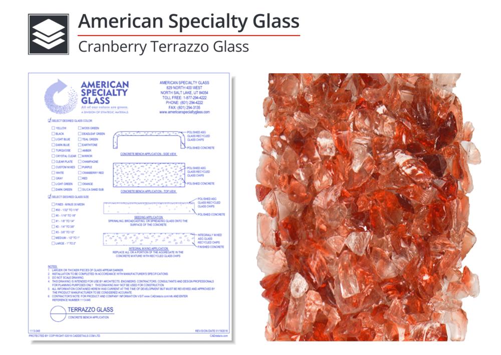 1113-006 Cranberry Terrazzo Glass