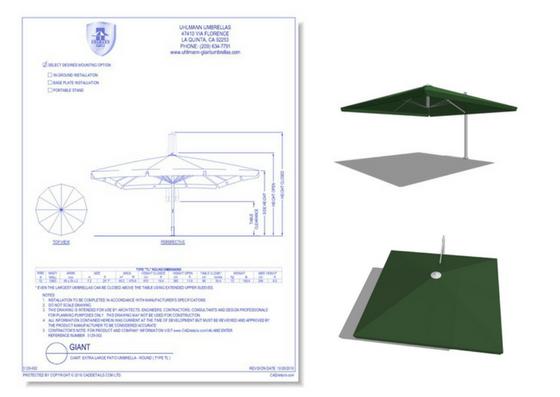 5129-007 Cantilever Square Patio Umbrella