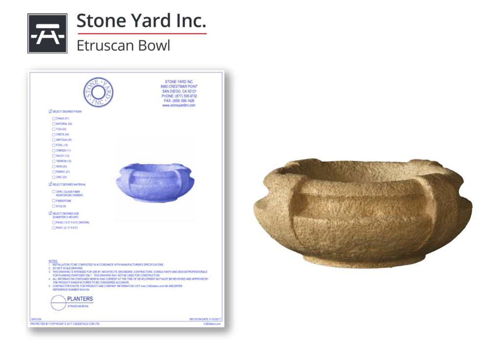 5043-034 Etruscan Bowl Planter