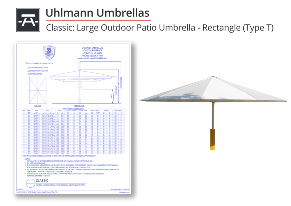 5129-001b Uhlmann Type T Umbrella
