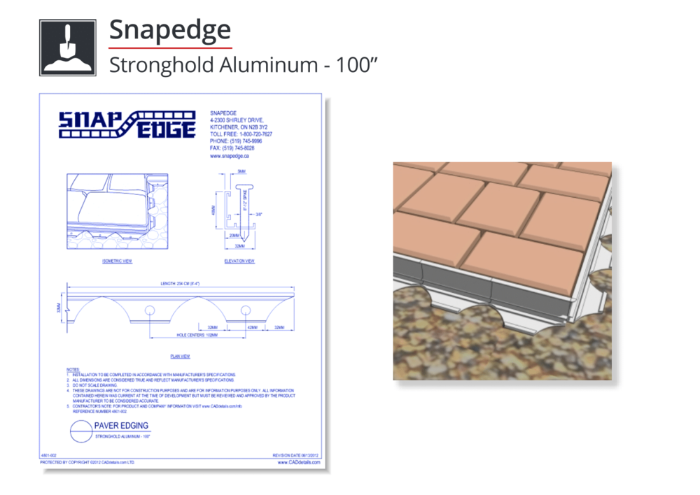 4801-002 Stronghold Aluminum Paver Edging