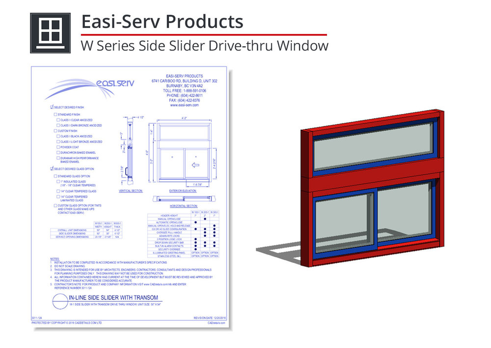 3011-124 W Series Side Slider Drive-thru Window