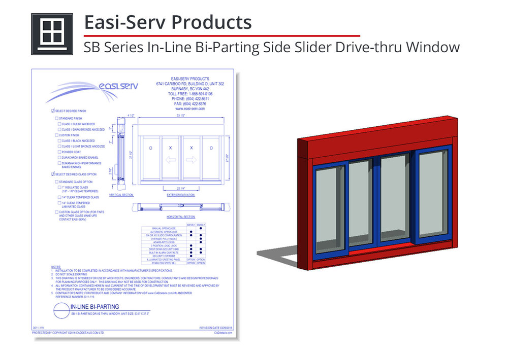 3011-119 SB Series In-Line Bi-Parting Side Slider Window