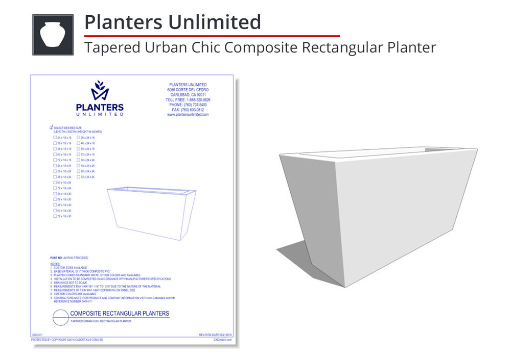 3404-011 Tapered Urban Chic Composite Rectangular Planter
