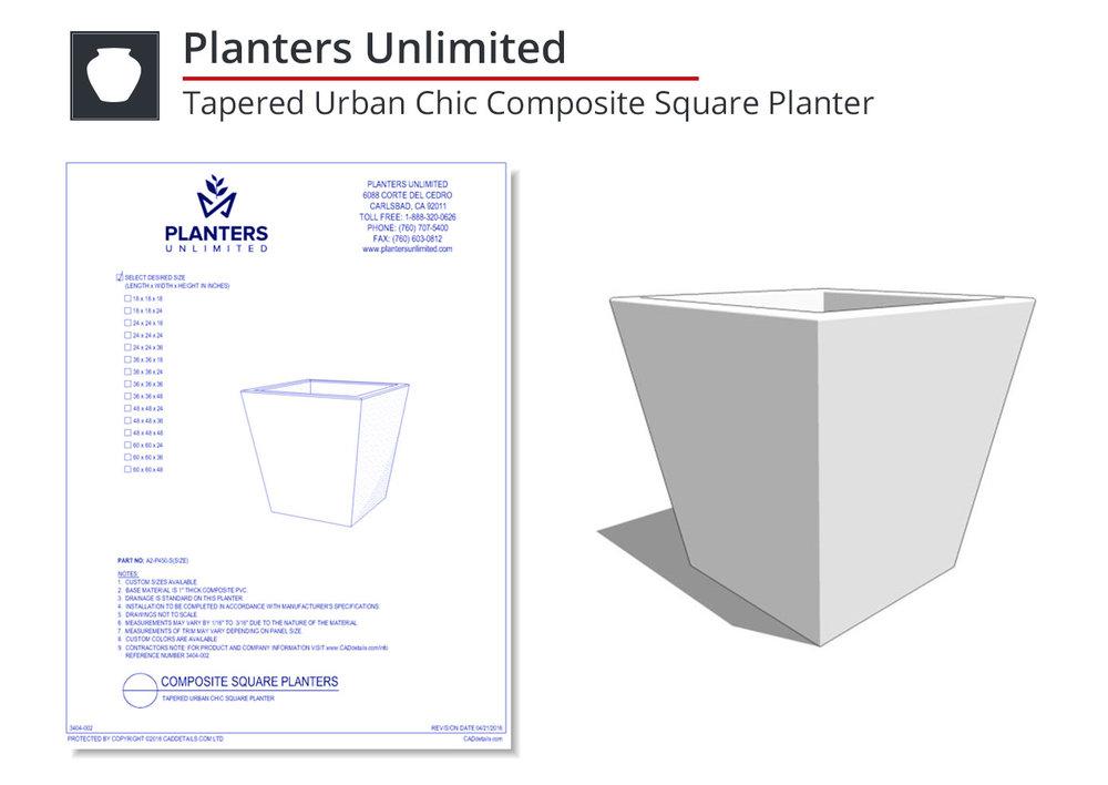 3404-002 Tapered Urban Chic Composite Square Planter