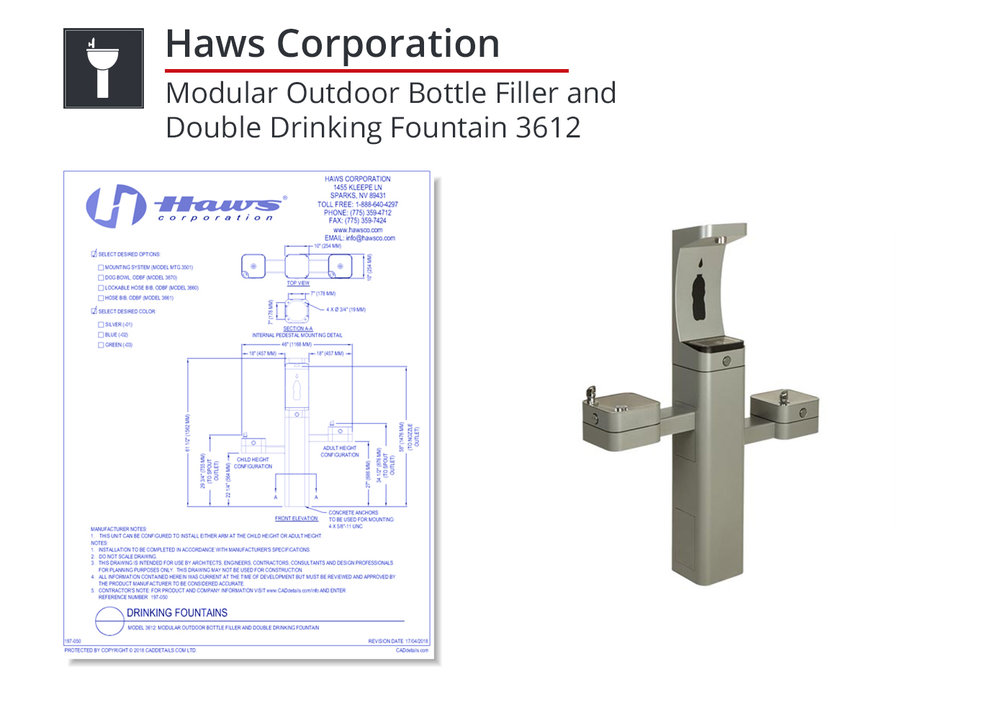 3612 - Modular Outdoor Bottle Filler & Double Fountain