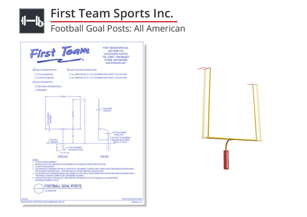 4189-050 - Football Goal Posts: All American