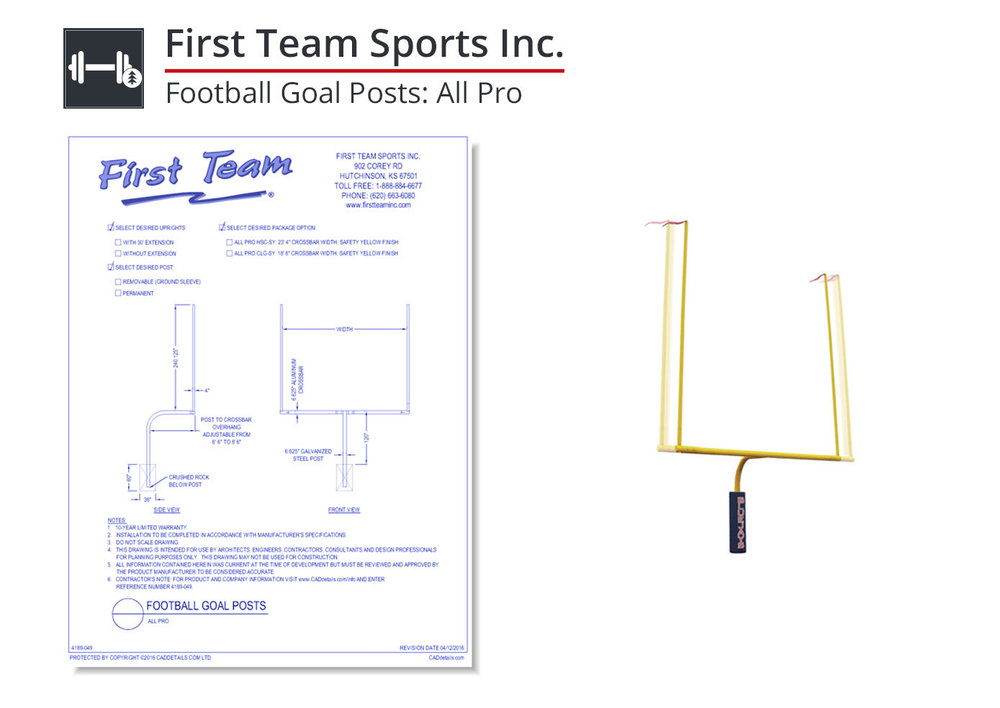 4189-049 Football Goal Posts: All Pro