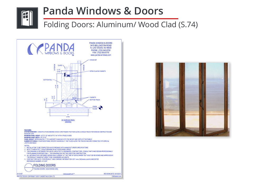 4115-005 Folding Doors: Aluminum / Wood Clad