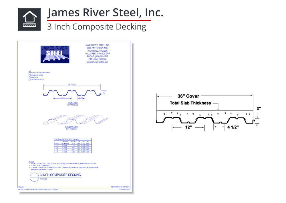 1276-091 3 Inch Composite Decking
