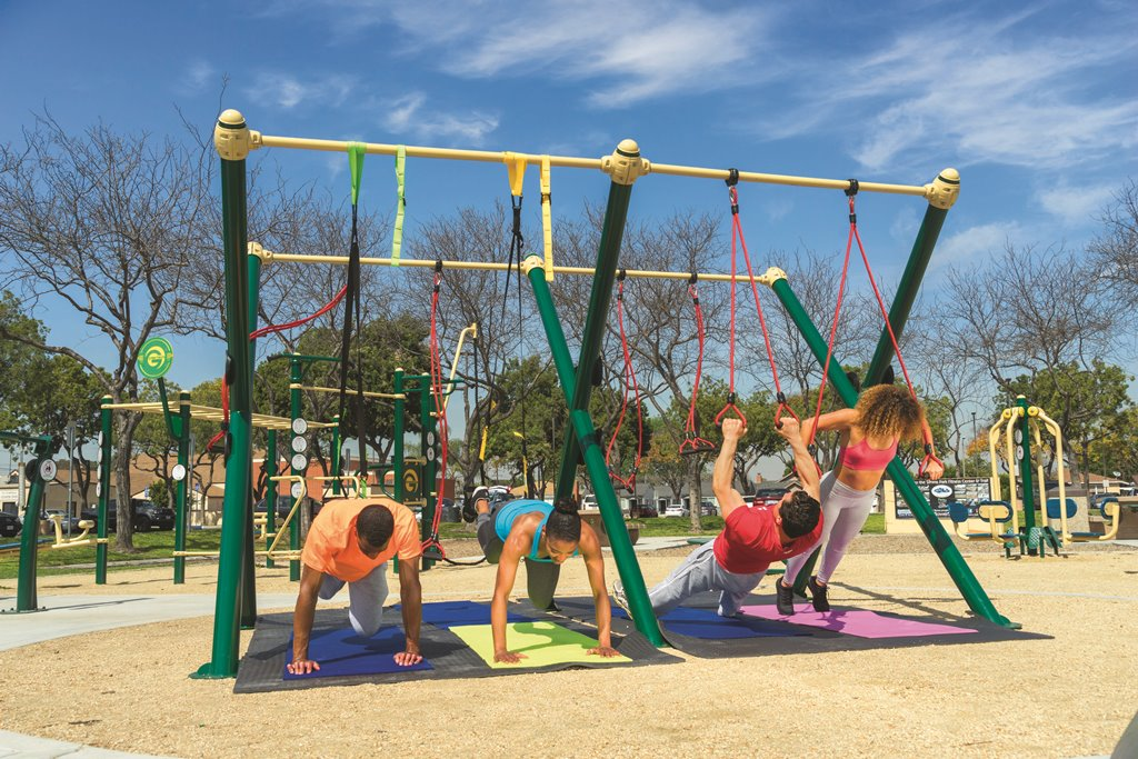 Outdoor fitness equipment trail or cluster design ideas for