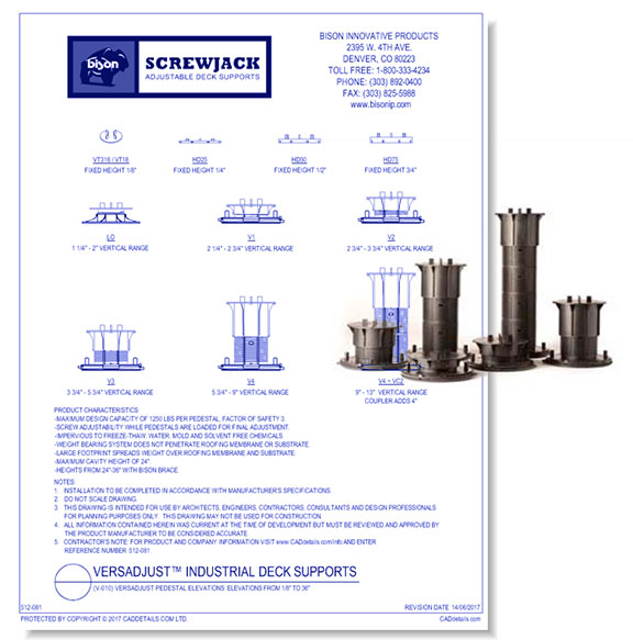 Versadjust Industrial Deck Supports