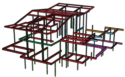 Steel framing is shown as red in this structural model done in Sketchup. Image: Mark English Architects