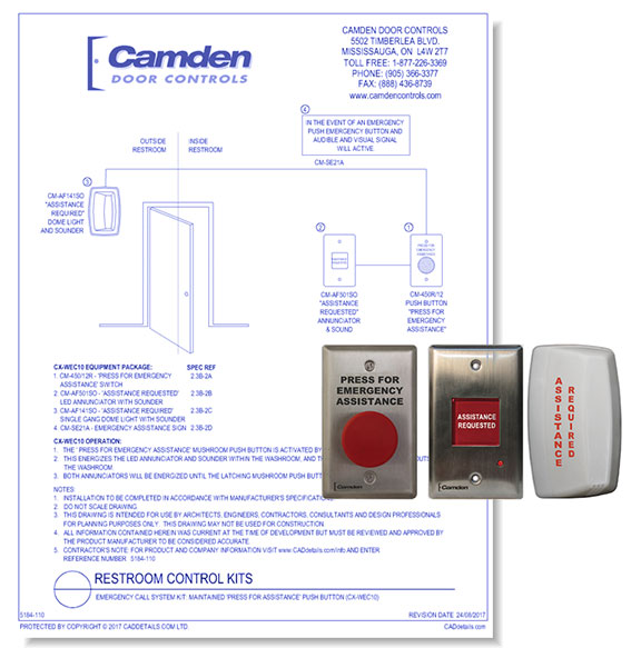 Emergency Call System Kit: Maintained  Press For Assistance' Push Button