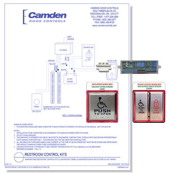 Restroom Control System Kits: Flush Mount Combo Illuminated Push Plate System
