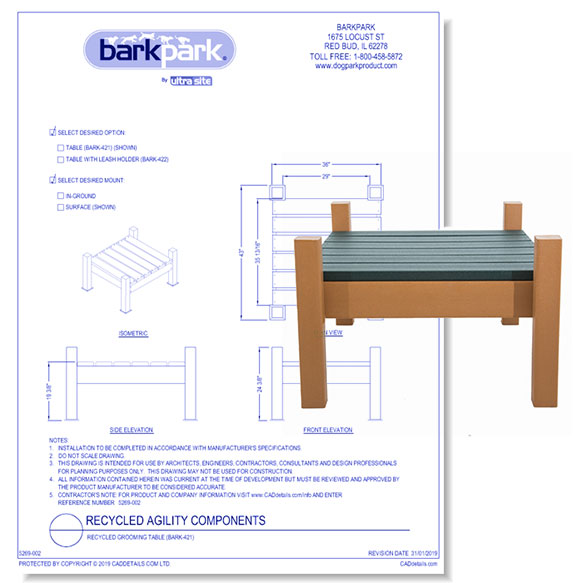 Recycled Grooming Table (BARK - 421)