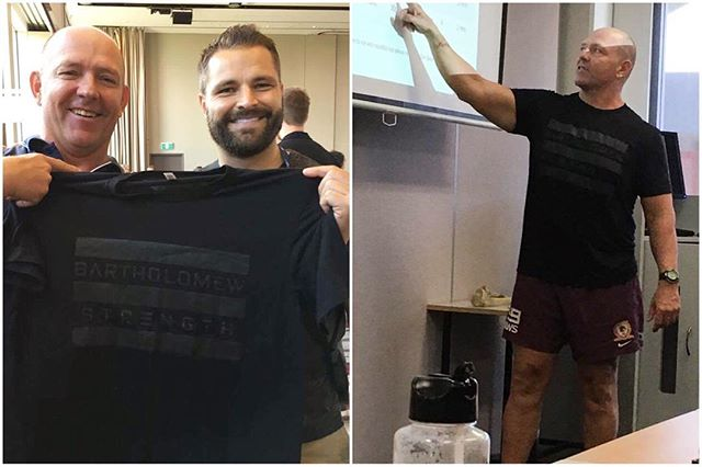 A big thanks to @coach_brettb for giving me a Bartholomew Strength t-shirt at the ASCA conference in Melbourne this month.  I got to wear it while guest speaking at a lecture to Strength & Conditioning students at my local Sunshine Coast Tafe.