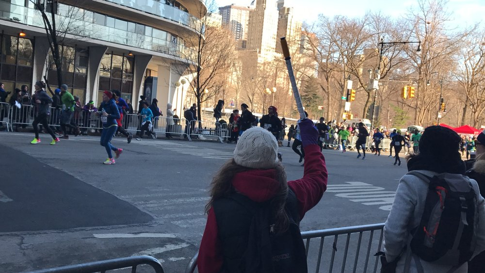 Jessica Leggio cheering on her #RunPainFree runners on March 19, 2017 at the New York City Half Marathon