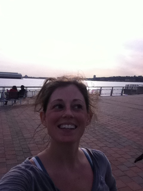 Running her 1st long run, Battery Park to Harlem, West Side Highway 2012